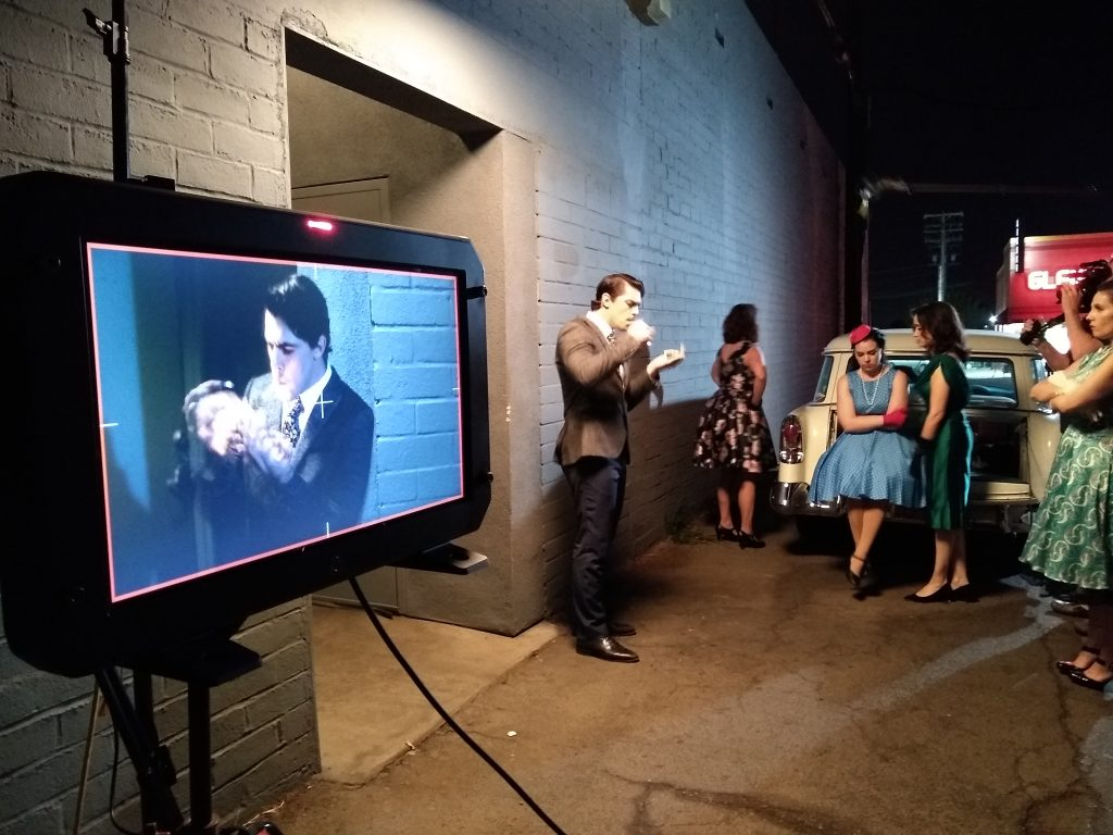 Behind the scenes for the exterior backstage set.