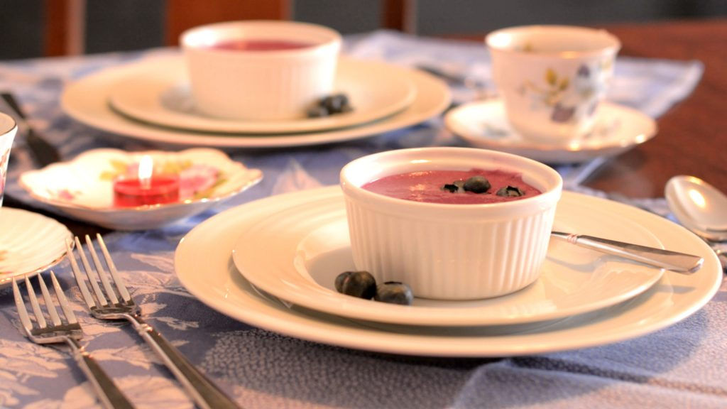 Blueberry Soup on styled breakfast table