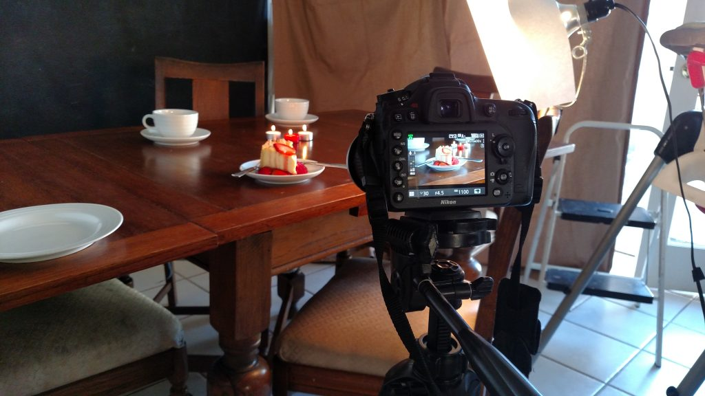 Camera setup film and television food stylist cheesecake